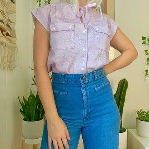 Vintage 70s 80s lilac floral cap sleeve blouse S/M